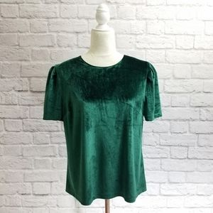 WAYF emerald green velvet short puffy sleeve top